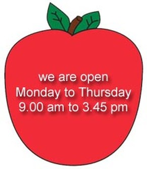 We are open Monday to Thursday 9 to 3.45
